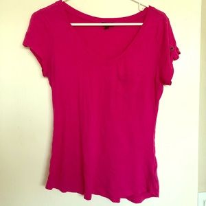 Express Pink T-Shirt with Button Shoulder